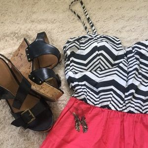 Black, white and pink dress
